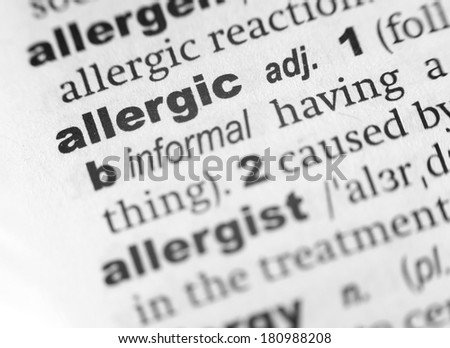 Dictionary definition of the word Allergic - stock photo