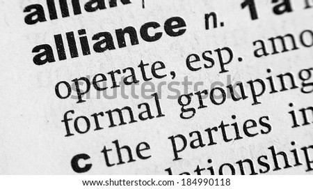 Dictionary definition of the word Alliance - stock photo