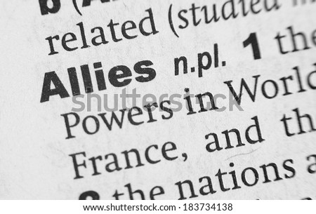 Dictionary definition of the word Allies - stock photo