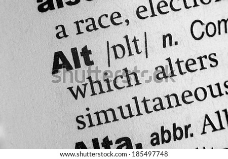 Dictionary definition of the word Alt - stock photo