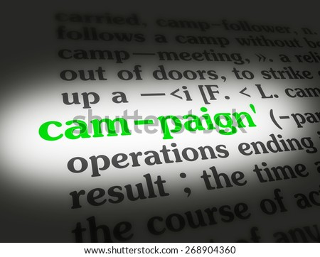 Dictionary definition of the word campaign.