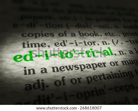 Dictionary definition of the word editorial.