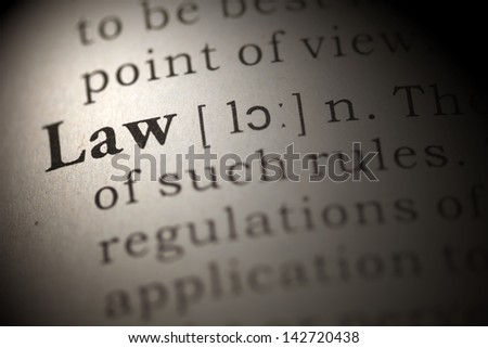 Dictionary definition of the word law. Fake Dictionary  - stock photo