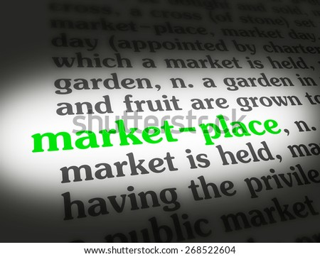 "Dictionary definition of the word ""Marketplace""."