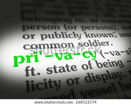 "Dictionary definition of the word ""Privacy""."