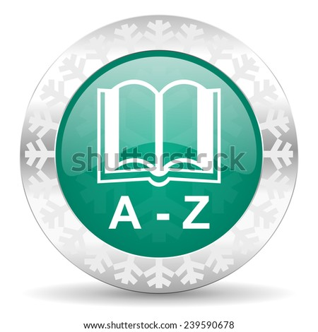 dictionary green icon, christmas button