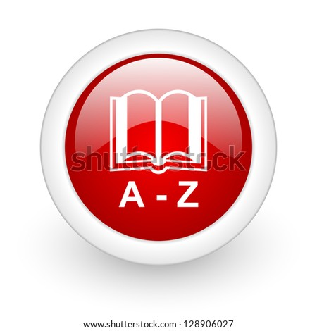 dictionary red circle glossy web icon on white background