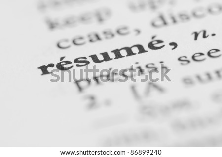Dictionary Series - Resume - stock photo