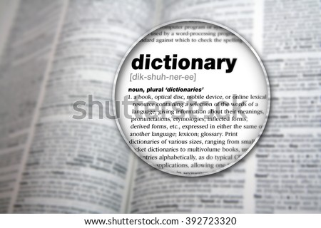 Dictionary showing the word 'Dictionary'. - stock photo