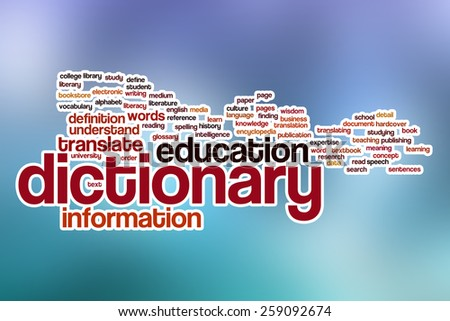Dictionary word cloud concept with abstract background - stock photo
