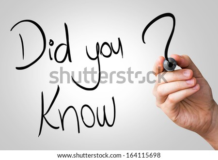 Did you know hand writing with a black mark on a transparent board - stock photo