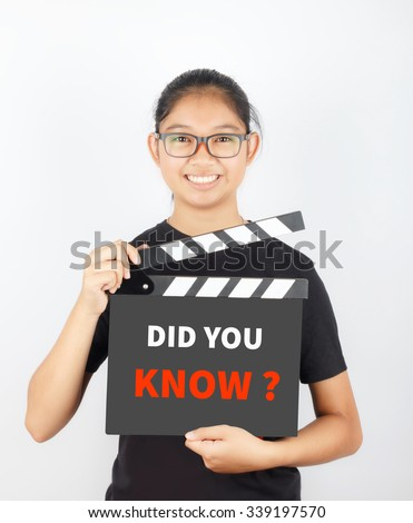 DID YOU KNOW, message on slate film show by Asian girl - stock photo