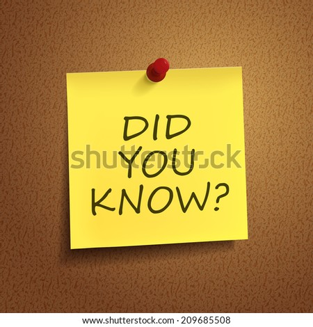 did you know words on post-it over brown background - stock photo