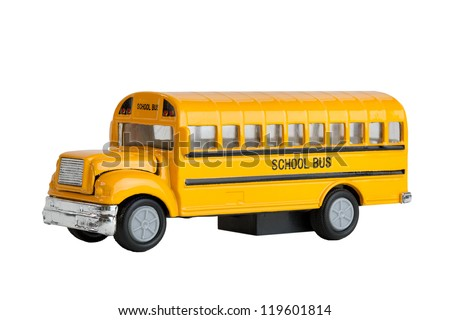 Die Cast Model Toy Of A North American And Canadian Yellow School Bus, Focus Stacked. So Whole Image Is In Focus  - stock photo