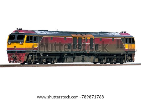 Diesel electric locomotive isolated on over white background.