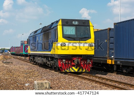Diesel-electric locomotive  trucks Freight Train - stock photo