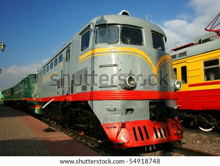Diesel engine - the locomotive - stock photo