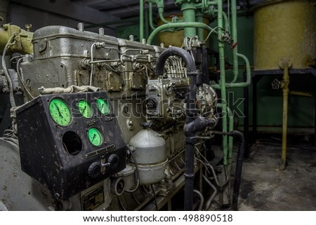 Diesel generator at abandoned bomb shelter