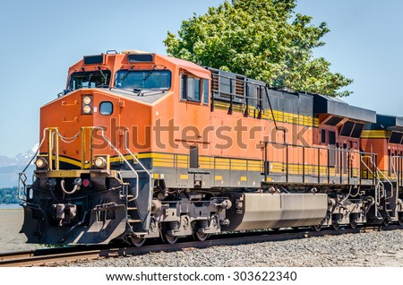 Diesel Locomotive on a Clear Summer Day - stock photo