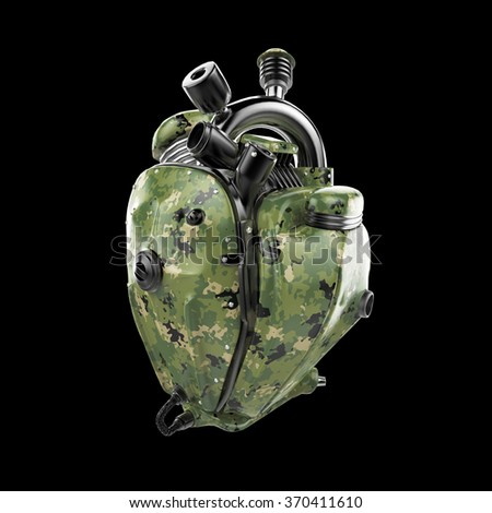 Diesel punk military robot techno heart. engine with pipes, radiators and camouflage metal hood parts. military army show rock hardcore poster template isolated - stock photo