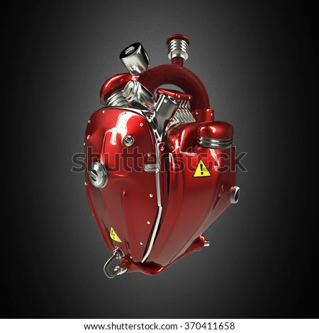 Diesel punk robot techno heart. engine with pipes, radiators and gloss red metal hood parts. bike show rock hardcore poster template isolated - stock photo