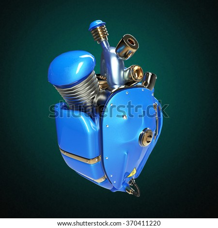 Diesel punk robot techno heart. engine with pipes, radiators and glossy blue car paint metal hood parts. bike show rock hardcore poster template isolated - stock photo