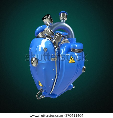 Diesel punk robot techno heart. engine with pipes, radiators and glossy blue metal hood parts. bike show rock hardcore poster template isolated - stock photo