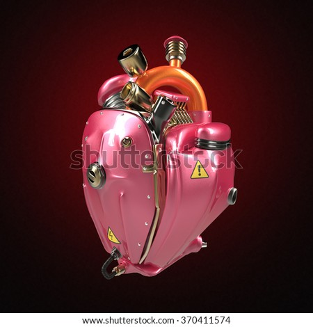 Diesel punk robot techno heart. engine with pipes, radiators and glossy pink metallic hood parts. bike show rock hardcore poster template isolated - stock photo