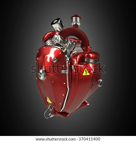 Diesel punk robot techno heart. engine with pipes, radiators and glossy red metal hood parts. bike show rock hardcore poster template isolated