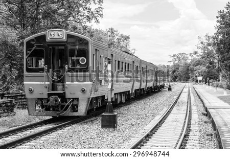 Diesel train parked at the railway station, Thailand. - stock photo