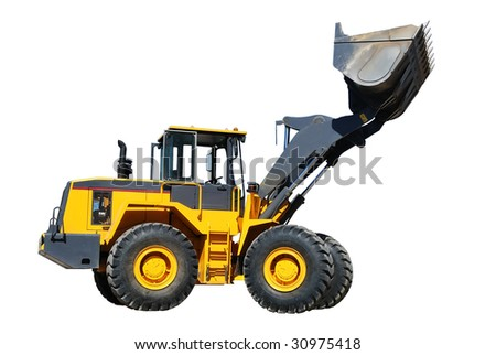 diesel wheel loader with risen bucket over white - stock photo