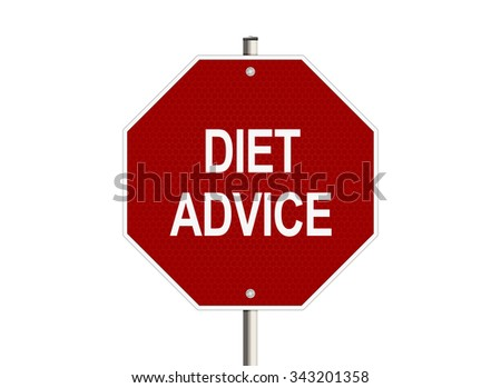 Diet advice. Road sign on the white background. Raster illustration.