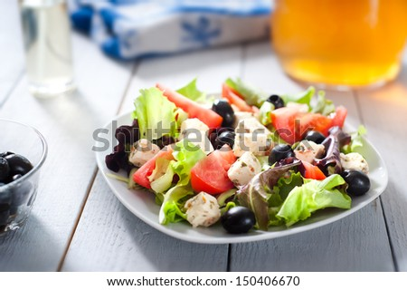 Diet and healthy mediterranean salad - stock photo