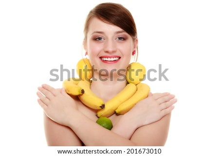 Diet and nutrition. Girl with banana necklace and lemon earrings isolated on white. Young woman recommending fruits.