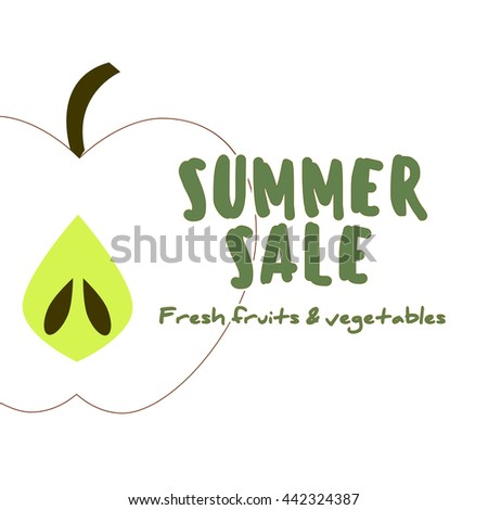 Diet and organic food template. Healthy eating concept with flat fruits, vegetables and copyspace. Great for healthy magazines, cooking web sites and restaurant newsletters. Summer sale concept