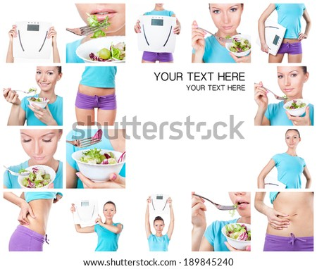 Diet and sport collage. Woman with scales and salad on white  - stock photo