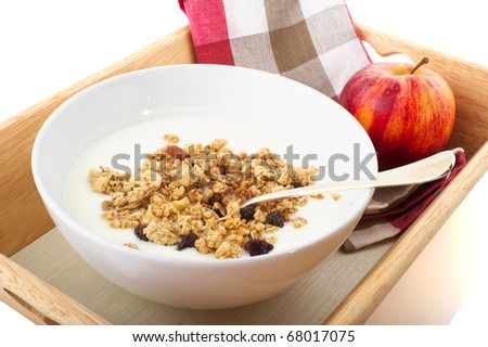 diet breakfast with yogurt and a red apple