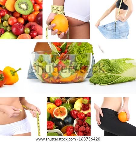 Diet collage - stock photo