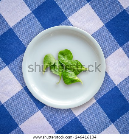 Diet Concept Image Of  Spinach Salad Leaves On A White Plate On A Checked Table Cloth - stock photo