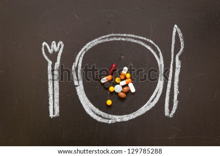 Diet concept. Tablets on a plate. - stock photo