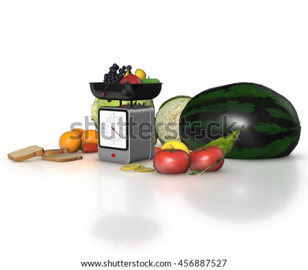 Diet Concept. vegetables and fruits with Yellow Measuring Tape on a white background. 3d render.