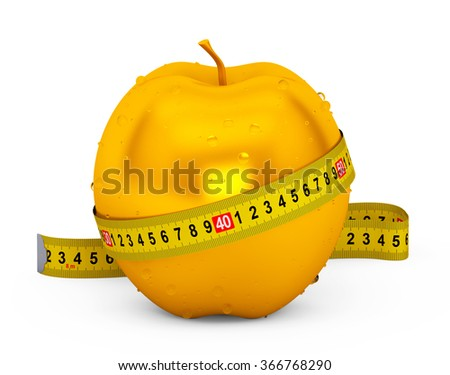 Diet Concept. Wet Golden Apple with Yellow Measuring Tape on a white background