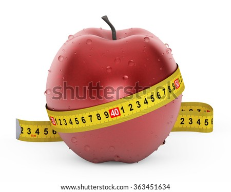 Diet Concept. Wet Red Apple with Yellow Measuring Tape on a white background