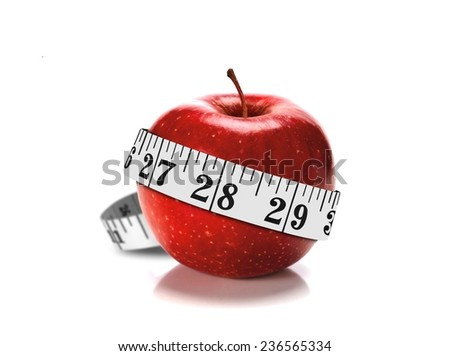 Diet Concept with Apple and Measuring Tape - stock photo
