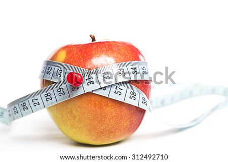 Diet Concept with apple and measuring tape, isolated on white background. - stock photo