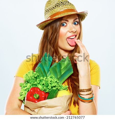 diet concept with vomiting woman by reason of vegan food . white background.