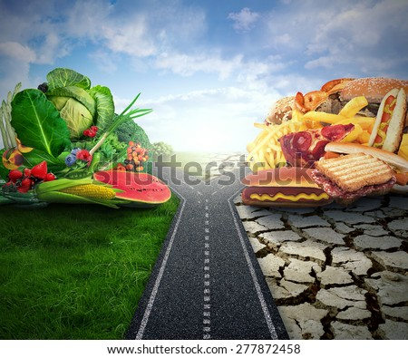 Diet decision concept and nutrition choices dilemma crossroad between healthy good fresh fruit and vegetables or greasy cholesterol rich fast food - stock photo