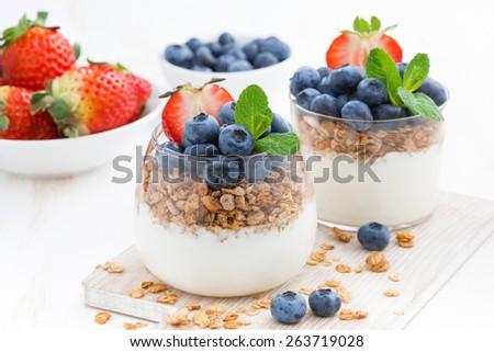 diet dessert with yogurt, muesli and fresh berries, close-up - stock photo