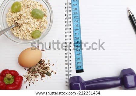 Diet diary  Healthy lifestyle concept. Add own text. - stock photo