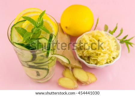 Diet drink with ginger, lemon and parsley with fresh ingredients